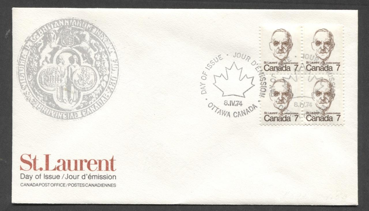 Canada #592 (SG#699) 7c Deep Brown St. Laurent 1972-1978 Caricature Issue DF Paper Block On FDC SUP-98 Brixton Chrome