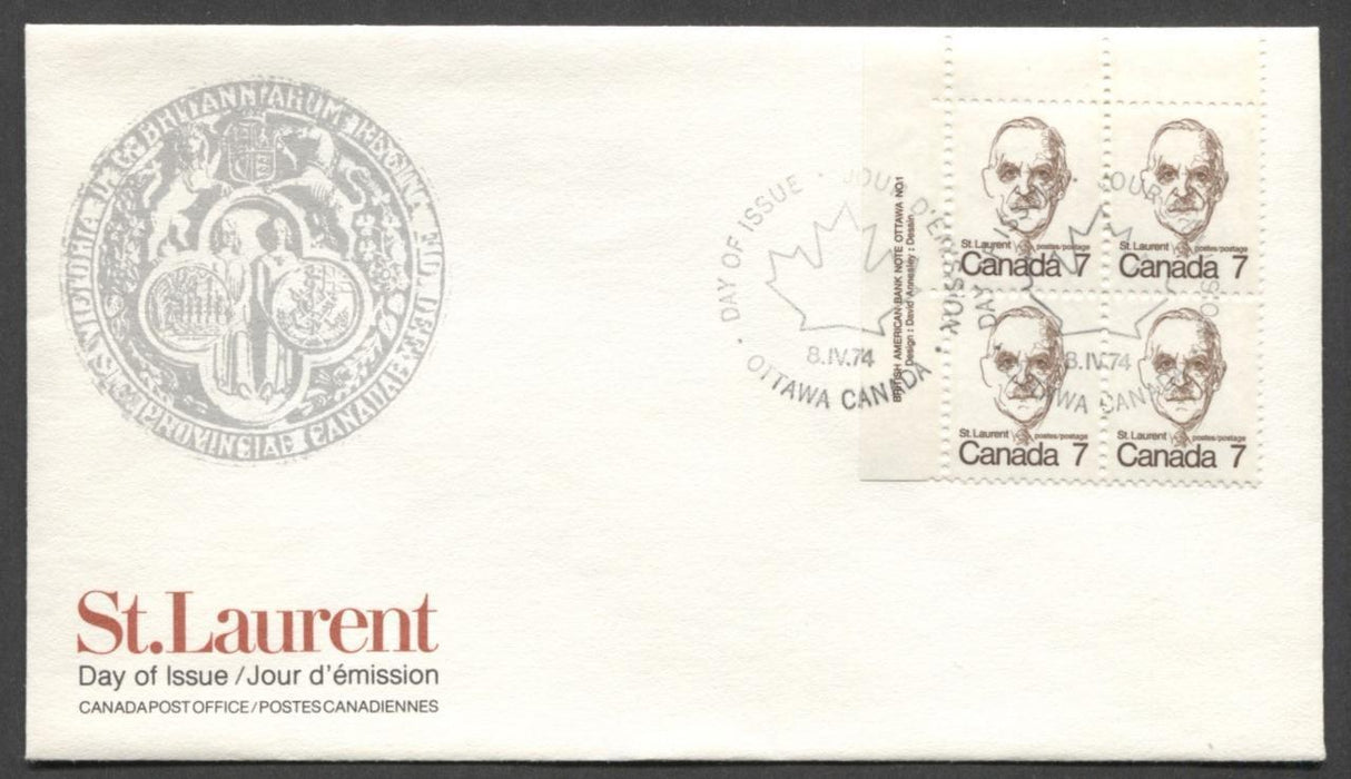 Canada #592 (SG#699) 7c Deep Brown St. Laurent 1972-1978 Caricature Issue DF Paper UL Block On FDC SUP-98 Brixton Chrome