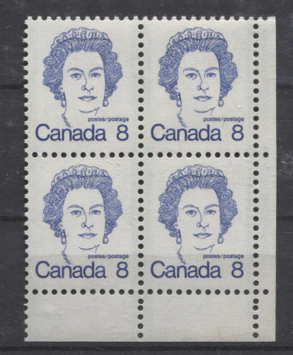 Canada #593ii (SG#700) 8c Ultramarine Queen Elizabeth II 1972-1978 Caricature Issue Blank LR DF Ribbed Paper Type 2 VF-75 NH Brixton Chrome