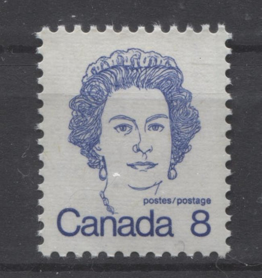 Canada #593ii (SG#700) 8c Ultramarine Queen Elizabeth II 1972-1978 Caricature Issue DF Ribbed Paper Type 1 VF-84 NH Brixton Chrome