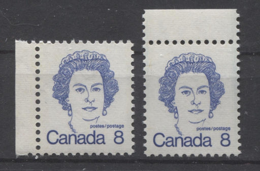 Canada #593ii (SG#700) 8c Ultramarine Queen Elizabeth II 1972-1978 Caricature Issue DF Ribbed Paper Types 1 & 2 VF-80 NH Brixton Chrome