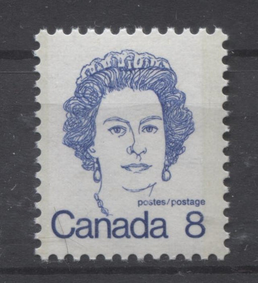Canada #593iii (SG#700) 8c Ultramarine Queen Elizabeth II 1972-1978 Caricature Issue LF Paper Type 4 Dry Inking F-70 NH Brixton Chrome
