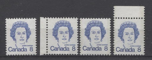 Canada #593iii,iv (SG#700) 8c Ultramarine Queen Elizabeth II 1972-1978 Caricature Issue LF & LF Ribbed Types 3, 4, 2 & 3 F-70 NH Brixton Chrome