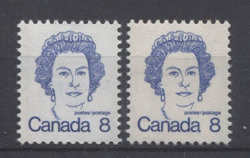 Canada #593iii,ix (SG#700) 8c Ultramarine Queen Elizabeth II 1972-1978 Caricature Issue LF & HF Types 4 & 2 VF-80 NH Brixton Chrome