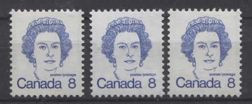 Canada #593ii,iv (SG#700) 8c Ultramarine Queen Elizabeth II 1972-1978 Caricature Issue DF, & LF Ribbed Paper Types 2, 2 & 4 VF-75 NH Brixton Chrome