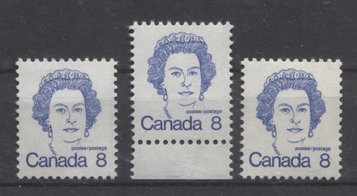 Canada #593ii,iv,ix (SG#700) 8c Ultramarine Queen Elizabeth II 1972-1978 Caricature Issue DF, LF & HF Paper Types 1, 7 & 7 VF-75 NH Brixton Chrome