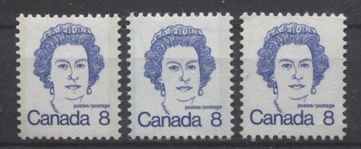 Canada #593iii,v,ix (SG#700) 8c Ultramarine Queen Elizabeth II 1972-1978 Caricature Issue LF, MF & HF Types 3, 2 & 1 VF-75 NH Brixton Chrome