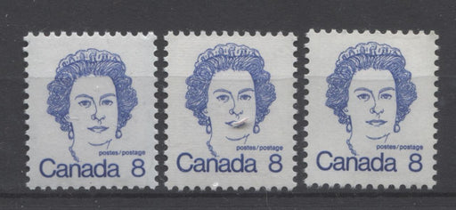 Canada #593i,iv,ix (SG#700) 8c Ultramarine Queen Elizabeth II 1972-1978 Caricature Issue DF, LF & HF Paper Types 3, 2 & 5 VF-75 NH Brixton Chrome