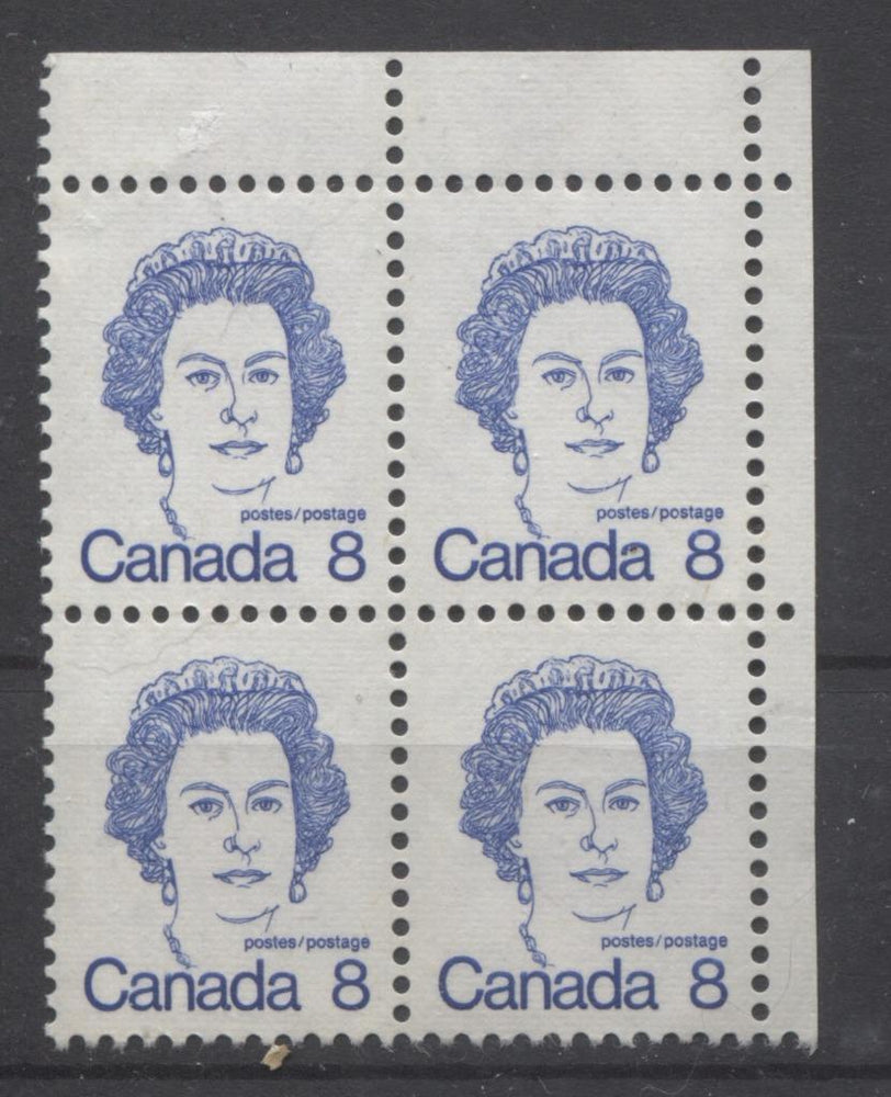Canada #593iv (SG#700) 8c Ultramarine Queen Elizabeth II 1972-1978 Caricature Issue Blank UR LF Ribbed Paper Type 3 VF-80 NH Brixton Chrome