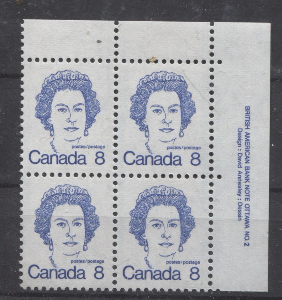 Canada #593iv (SG#700) 8c Ultramarine Queen Elizabeth II 1972-1978 Caricature Issue Plate 2 UR LF Ribbed Paper Type 2 VF-80 NH Brixton Chrome