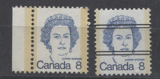 Canada #593viii,xx (SG#700) 8c Deep Blue Queen Elizabeth II 1972-1978 Caricature Issue Precancel & DF Paper VF-75 NH Brixton Chrome
