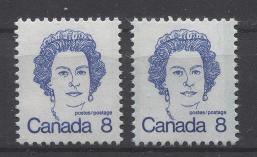 Canada #593v,ix (SG#700) 8c Ultramarine Queen Elizabeth II 1972-1978 Caricature Issue MF/LF & HF Paper Types 2 & 1 VF-80 NH Brixton Chrome