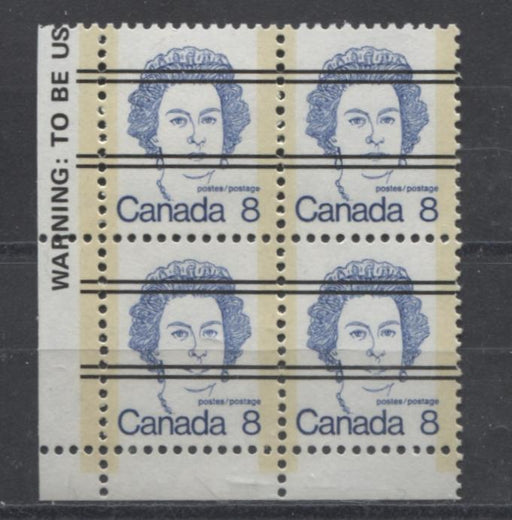 Canada #593xx (SG#700) 8c Deep Blue Queen Elizabeth II 1972-1978 Caricature Issue Precancel Blank LL Paper Type 1 F-70 NH Brixton Chrome