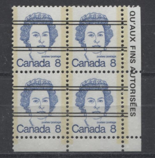 Canada #593xx (SG#700) 8c Deep Blue Queen Elizabeth II 1972-1978 Caricature Issue Precancel Blank LR Paper Type 2 VF-75 NH Brixton Chrome