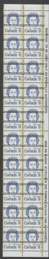 Canada #593xx (SG#700) 8c Deep Blue Queen Elizabeth II 1972-1978 Caricature Issue Precancel Warning Strip Paper Type 11 F-70 NH Brixton Chrome