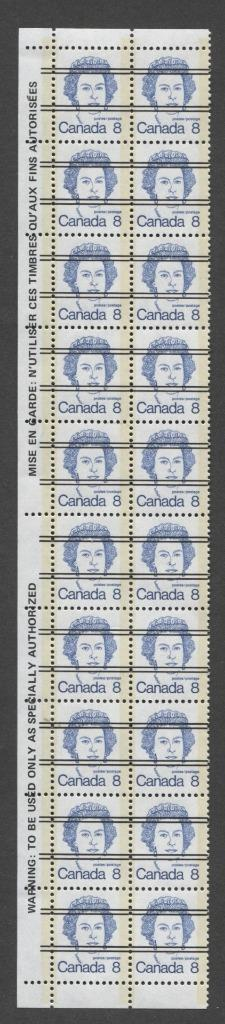 Canada #593xx (SG#700) 8c Deep Blue Queen Elizabeth II 1972-1978 Caricature Issue Precancel Warning Strip Paper Type 8 F-70 NH Brixton Chrome