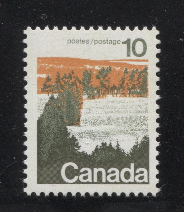 Canada #594 (SG#702) 10c Forest 1972-1978 Caricature Issue Type 1, OP-4 Tag, Paper Type 3 VF-75 NH Brixton Chrome