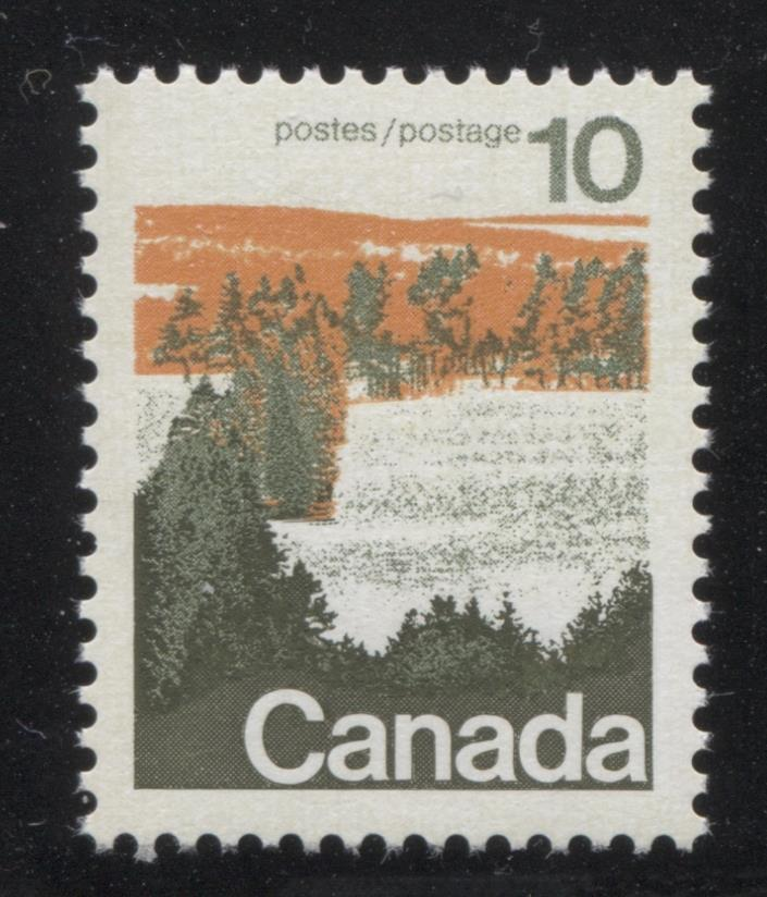 Canada #594 (SG#702) 10c Forest 1972-1978 Caricature Issue Type 1, OP-4 Tag, Paper Type 3 VF-80 NH Brixton Chrome