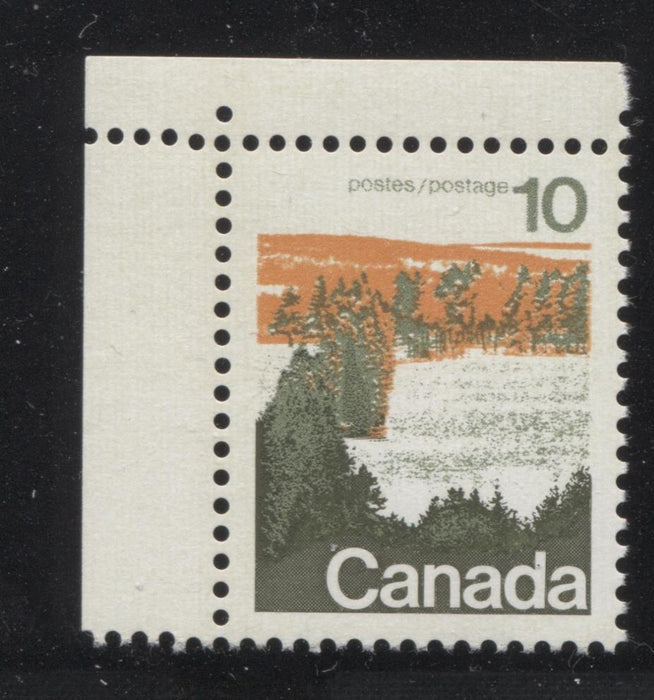 Canada #594 (SG#702) 10c Forest 1972-1978 Caricature Issue Type 1, OP-4 Tag, Paper Type 3 VF-84 NH Brixton Chrome