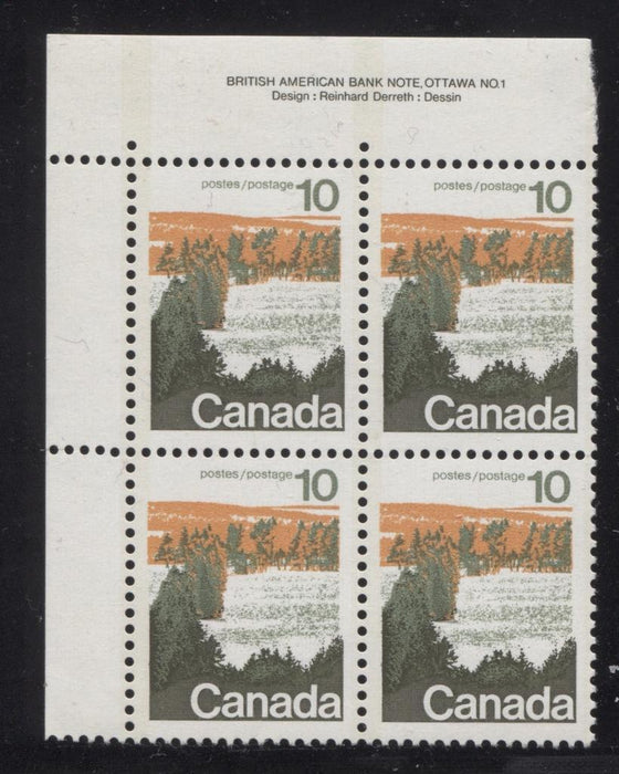 Canada #594i (SG#702) 10c Forest 1972-1978 Caricature Issue Type 1, 3 mm OP-2 Tag, Paper Type 1 Plate 1 UL VF-75 NH Brixton Chrome