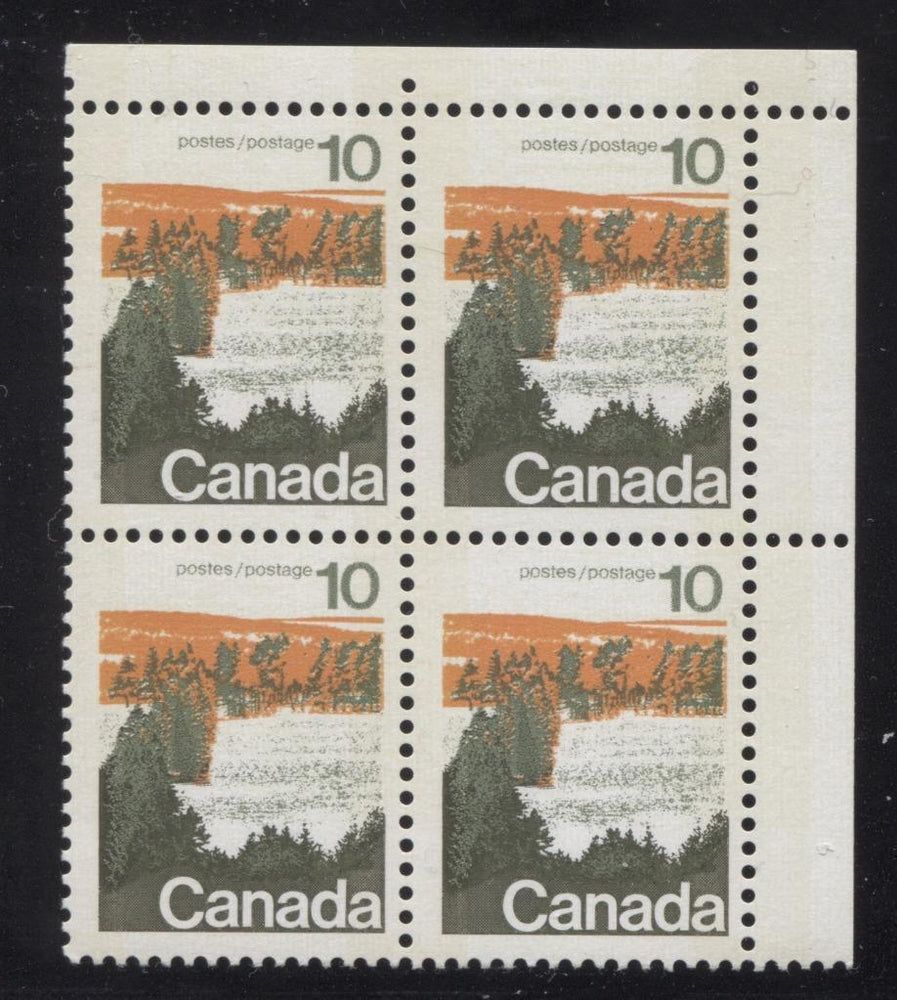 Canada #594iii (SG#702p) 10c Forest 1972-1978 Caricature Issue Type 1, W2B Tag, Paper Type 4 Blank UR F-70 NH Brixton Chrome