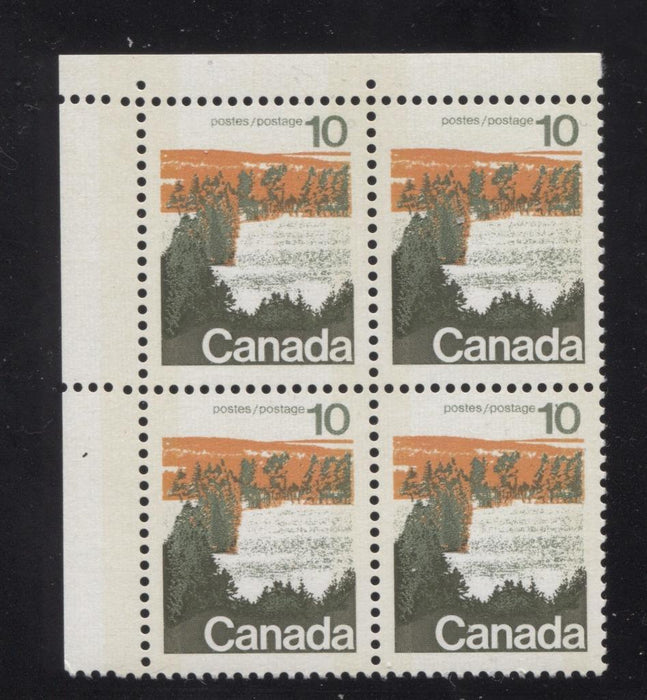 Canada #594iii (SG#702p) 10c Forest 1972-1978 Caricature Issue Type 1, W2B Tag, Paper Type 5 Blank UL VF-80 NH Brixton Chrome