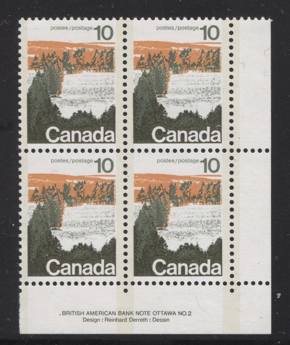 Canada #594viii (SG#702a) 10c Forest 1972-1978 Caricature Issue Type 2, Perf. 12.5 x 12, GT-2 OP-2 Tagging Paper Type 2 Plate 2 LR VF-80 NH Brixton Chrome