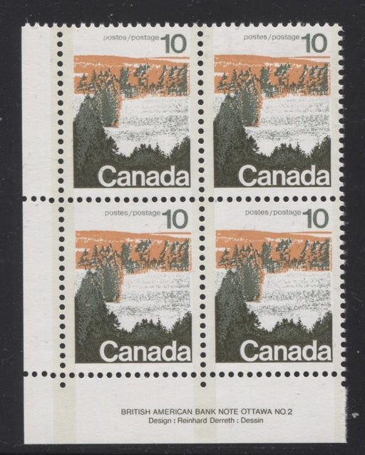 Canada #594viii (SG#702a) 10c Forest 1972-1978 Caricature Issue Type 2, Perf. 12.5 x 12, GT-2 OP-2 Tagging Paper Type 3 Plate 2 LL VF-84 NH Brixton Chrome