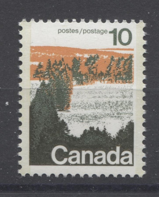 Canada #594viii (SG#702a) 10c Forest 1972-1978 Caricature Issue Type 2, Perf. 12.5 x 12, GT-2 OP-2 Tagging Paper Type 3 Plate 2 VF-75 NH Brixton Chrome