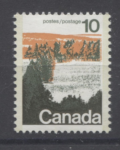Canada #594viii (SG#702a) 10c Forest 1972-1978 Caricature Issue Type 2, Perf. 12.5 x 12, GT-2 OP-2 Tagging Paper Type 3 Plate 2 VF-80 NH Brixton Chrome