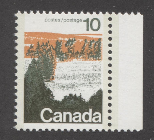 Canada #594viii (SG#702a) 10c Forest 1972-1978 Caricature Issue Type 2, Perf. 12.5 x 12, GT-2 OP-2 Tagging Paper Type 3 Plate 2 VF-84 NH Brixton Chrome