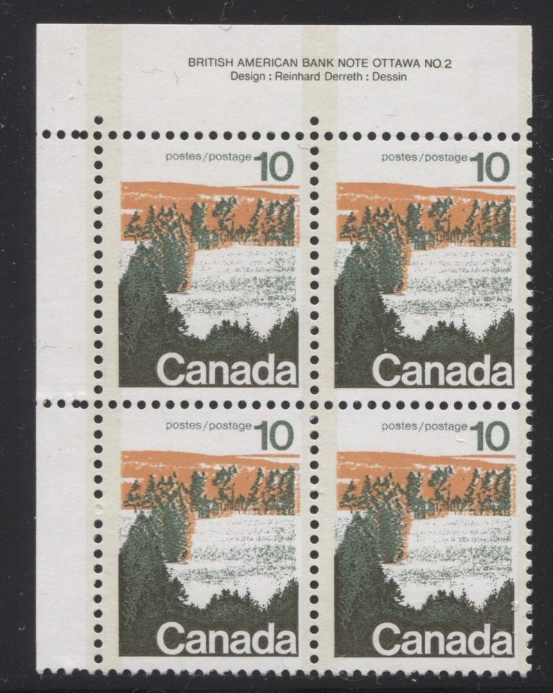 Canada #594x (SG#702a) 10c Forest 1972-1978 Caricature Issue Type 2, Perf. 12.5 x 12, GT-2 OP-2 Tagging Paper Type 4 Plate 2 UL VF-80 NH Brixton Chrome