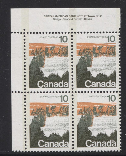 Canada #594x (SG#702a) 10c Forest 1972-1978 Caricature Issue Type 2, Perf. 12.5 x 12, GT-2 OP-2 Tagging Paper Type 4 Plate 2 UL VF-84 NH Brixton Chrome