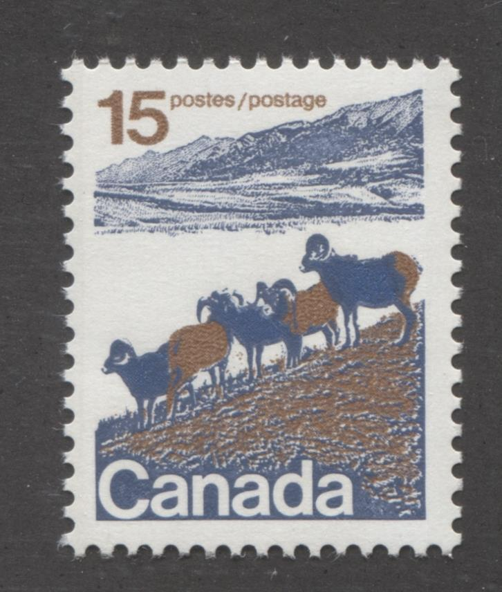 Canada #595 (SG#703) 15c Mountain Sheep 1972-1978 Caricature Issue Type 1, OP-4 Tag, Paper Type 4 VF-80 NH Brixton Chrome