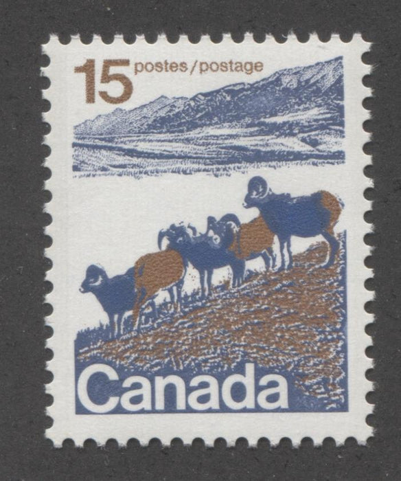 Canada #595 (SG#703) 15c Mountain Sheep 1972-1978 Caricature Issue Type 1, OP-4 Tag, Unlisted Blue Tail Variety VF-75 NH Brixton Chrome