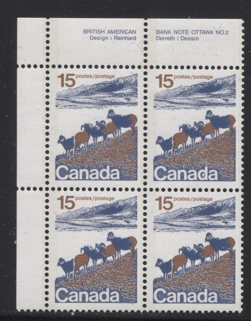 Canada #595a (SG#703b) 15c Mountain Sheep 1972-1978 Caricature Issue Type 2, Perf. 13.3, GT-2 OP-2 Tagging Paper Type 1 Plate 2 UL VF-75 NH Brixton Chrome