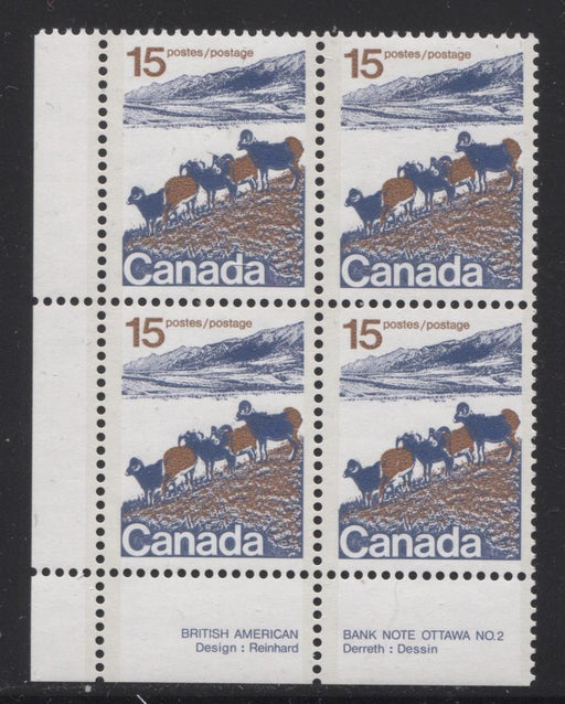 Canada #595aii (SG#703b) 15c Mountain Sheep 1972-1978 Caricature Issue Type 2, Plate 2 LL Raised Rump Variety LF/F Paper F-70 NH Brixton Chrome