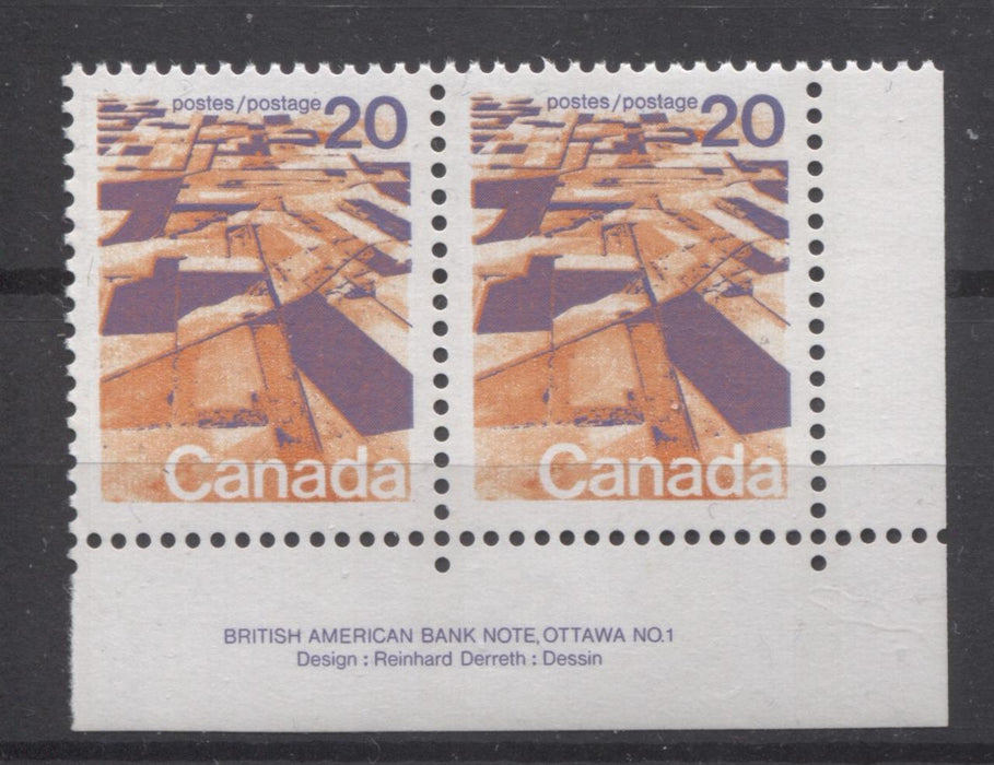 Canada #596 (SG#704) 20c Prairies 1972-1978 Caricature Issue GT-2 OP-4 Tagging Paper Type 11 Plate 1 LR Pr VF-80 NH Brixton Chrome