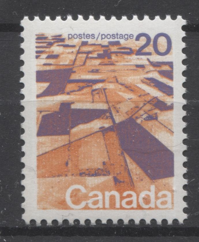 Canada #596 (SG#704) 20c Prairies 1972-1978 Caricature Issue GT-2 OP-4 Tagging Paper Type 4 VF-75 NH Brixton Chrome