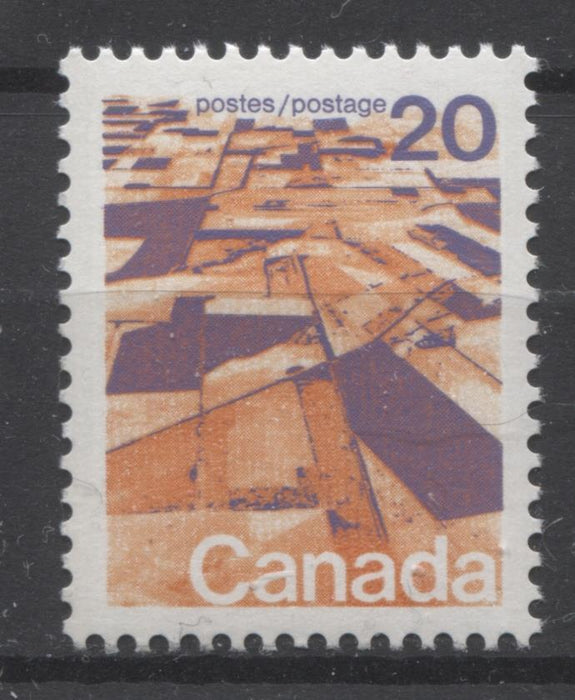 Canada #596 (SG#704) 20c Prairies 1972-1978 Caricature Issue GT-2 OP-4 Tagging Paper Type 9 VF-75 NH Brixton Chrome
