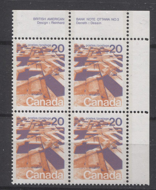 Canada #596aiii (SG#704a) 20c Prairies 1972-1978 Caricature Issue Perf. 13.3 MF Paper Type 3 Plate 3 UR VF-75 NH Brixton Chrome