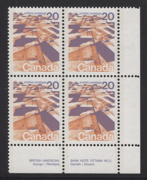 Canada #596aiii (SG#704a) 20c Prairies 1972-1978 Caricature Issue Perf. 13.3 MF Paper Type 4 Plate 3 LR VF-75 NH Brixton Chrome