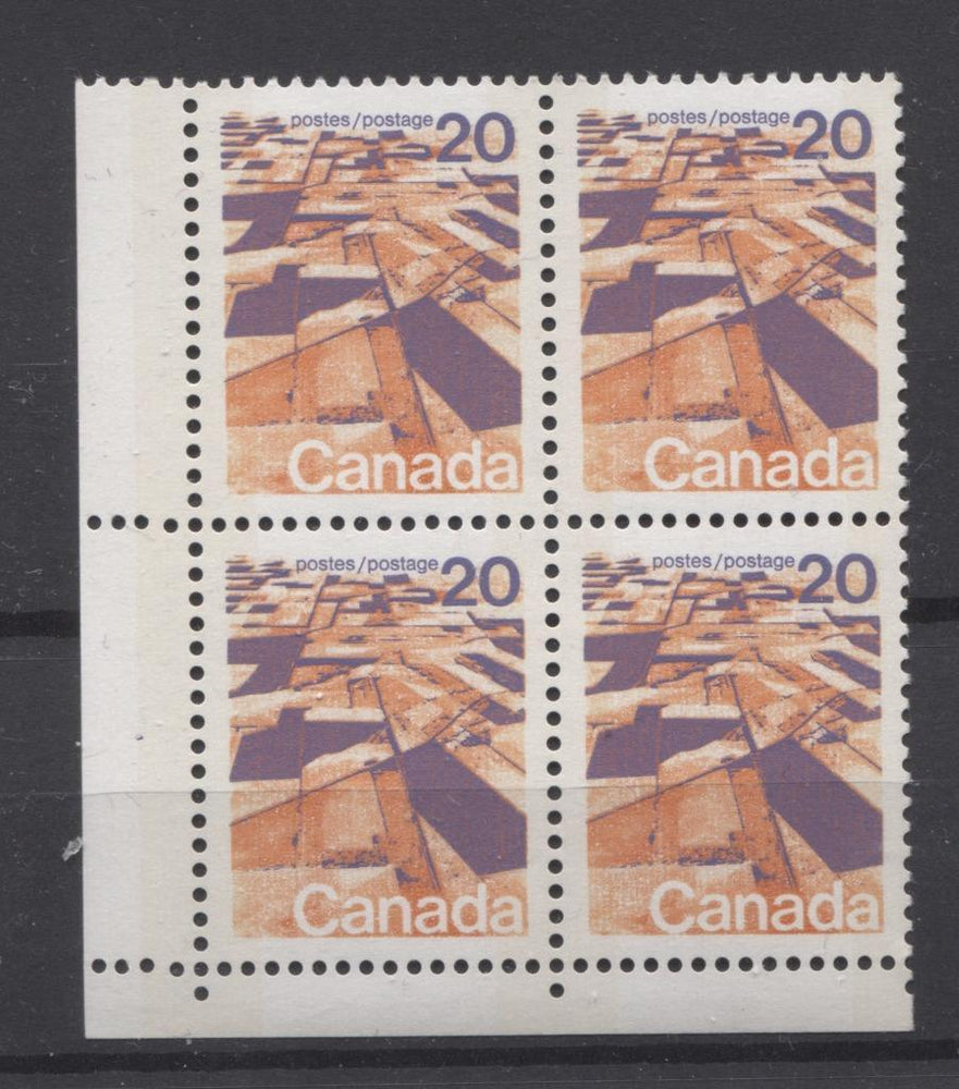 Canada #596vii (SG#704p) 20c Prairies 1972-1978 Caricature Issue W2B Tagging, Ribbed Paper Type 1 Blank LL VF-84 NH Brixton Chrome