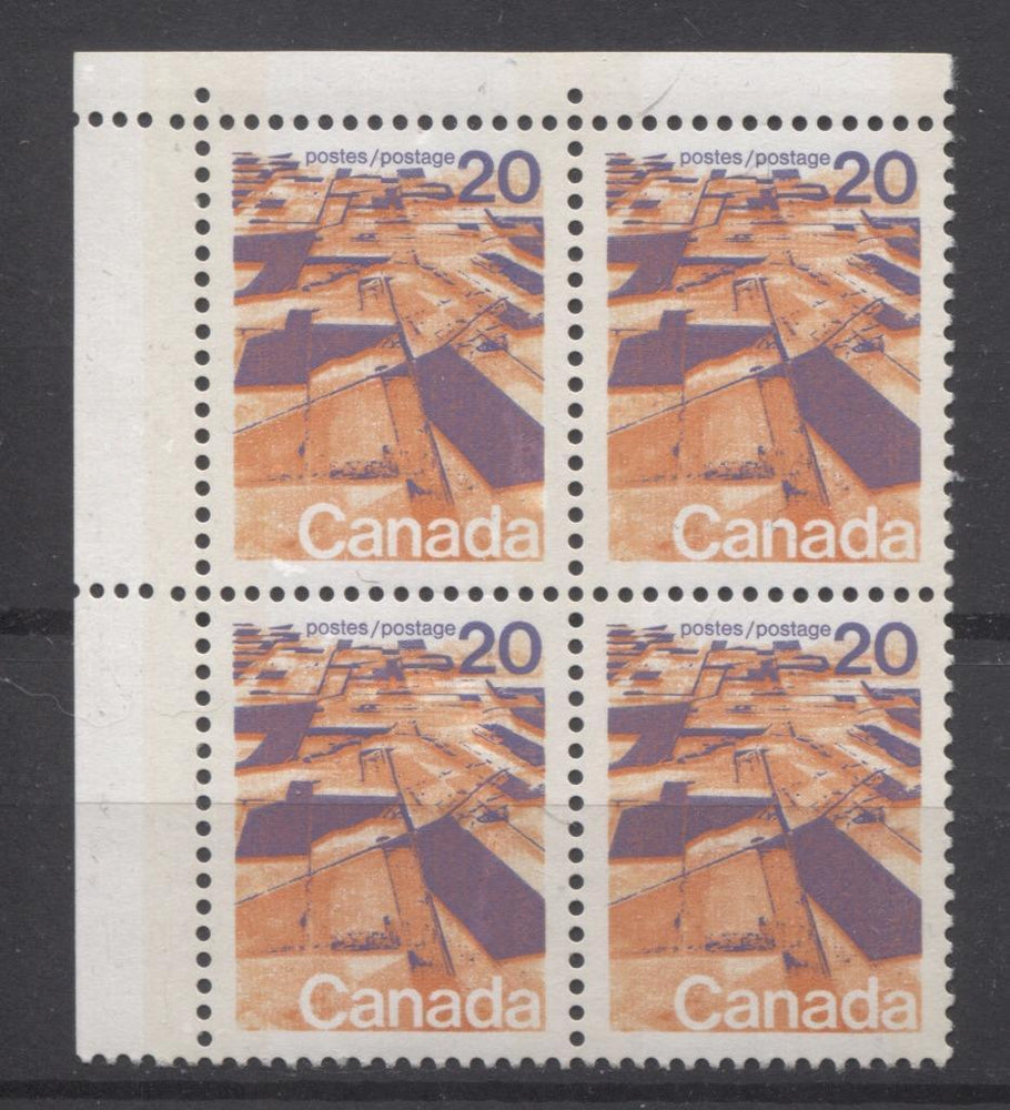 Canada #596vii (SG#704p) 20c Prairies 1972-1978 Caricature Issue W2B Tagging, Ribbed Paper Type 1 Blank UL VF-84 NH Brixton Chrome
