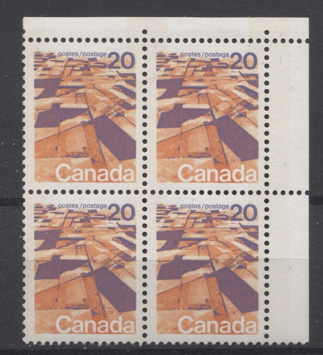 Canada #596vii (SG#704p) 20c Prairies 1972-1978 Caricature Issue W2B Tagging, Ribbed Paper Type 1 Blank UR VF-75 NH Brixton Chrome