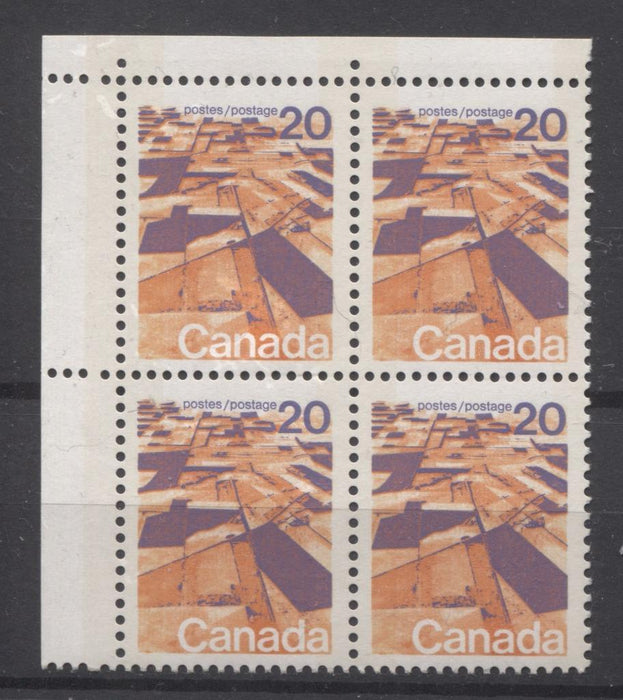 Canada #596vii (SG#704p) 20c Prairies 1972-1978 Caricature Issue W2B Tagging, Ribbed Paper Type 2 Blank UL VF-75 NH Brixton Chrome