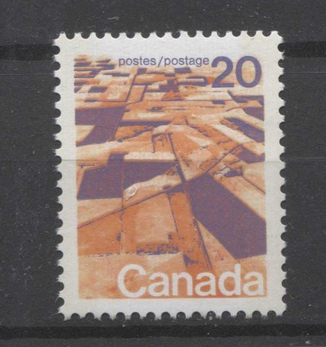 Canada #596vii (SG#704p) 20c Prairies 1972-1978 Caricature Issue W2B Tagging, Ribbed Paper Type 3 VF-84 NH Brixton Chrome