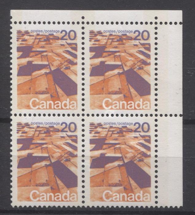 Canada #596xii (SG#704) 20c Prairies 1972-1978 Caricature Issue W2B Tagging Ribbed LF Paper Type 1 Blank UR VF-80 NH Brixton Chrome