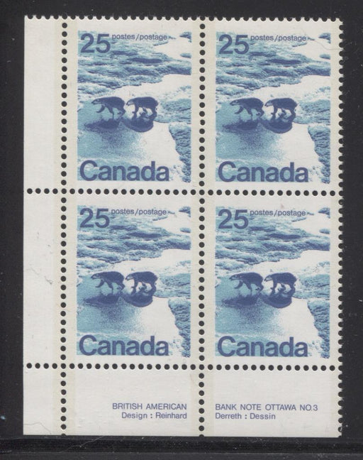 Canada #597aii (SG#705b) 25c Polar Bears 1972-1978 Caricature Issue GT-2 OP-2 Tagging DF/MF Paper Type 7 Plate 3 LL VF-80 NH Brixton Chrome