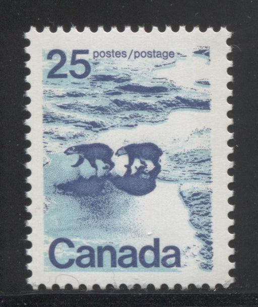 Canada #597iii (SG#705p) 25c Polar Bears 1972-1978 Caricature Issue W2B Tagging, Ribbed Paper/Ink Type 2 VF-75 NH Brixton Chrome